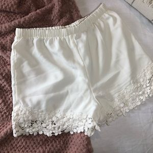 Anthropologie white lace shorts